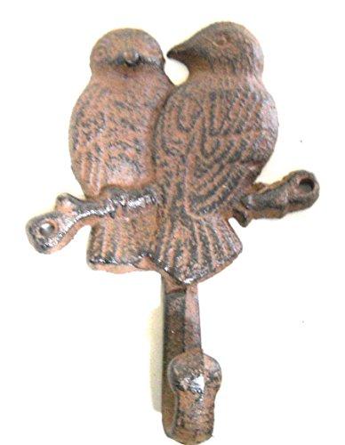 Vintage Antique Hooks Cast Iron Garden Blue Birds Coat Hooks Hook Rack Towel Doves Bird 1 Hook