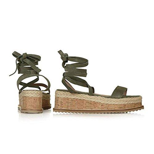 Caviglia Donna Sandali Impermeabili A alla Chenang da con Verde Donna Fondo Spesso Intrecciati Scarpe Zeppa con con Sandali Cinturino a1dwdT