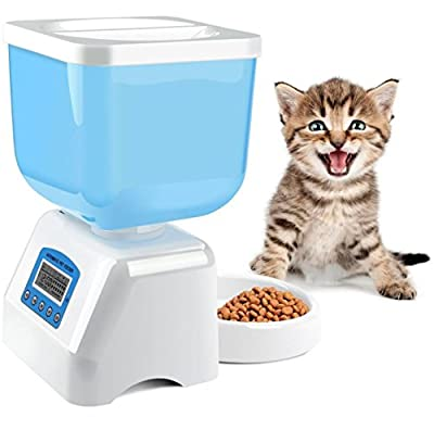 Automatic Pet Feeder, MOSPRO Programmable Feeder with Intelligent Voice Recorder & Timer, Large Food Dispenser with LCD Display and 4.5L Capacity