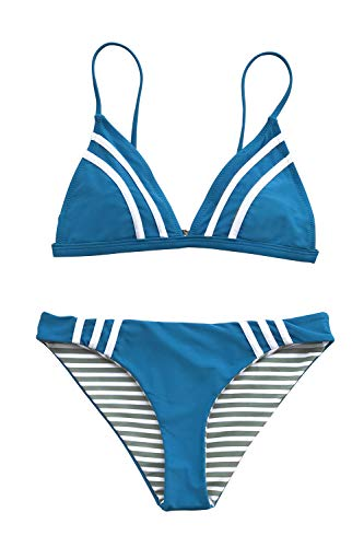 - CUPSHE Women's Blue and Stripe Reversible Piping Front Bikini,Blue,Medium