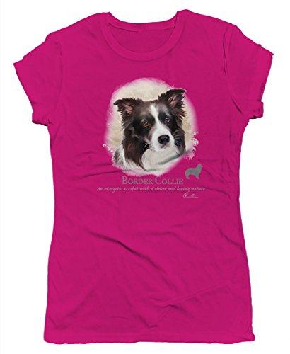 Border Collie Portrait Junior's T-shirt, SpiritForged Apparel, Hot Pink XL