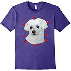 Maltese Dog Lover T-Shirts Puppy Fans Love Pet Heart Gift
