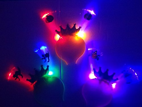 [3 Pack LED Glow Dark Lighted Lighting Headband Best Halloween Headbands Girls Princess Crown] (Toddler Natural Leopard Costumes)