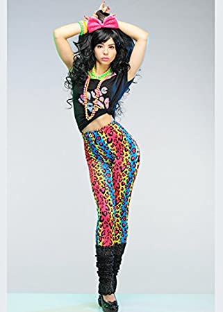 da37d7d9f69a9a MagicBox Womens 80s Neon Leopard Print Leggings: Amazon.co.uk: Toys & Games