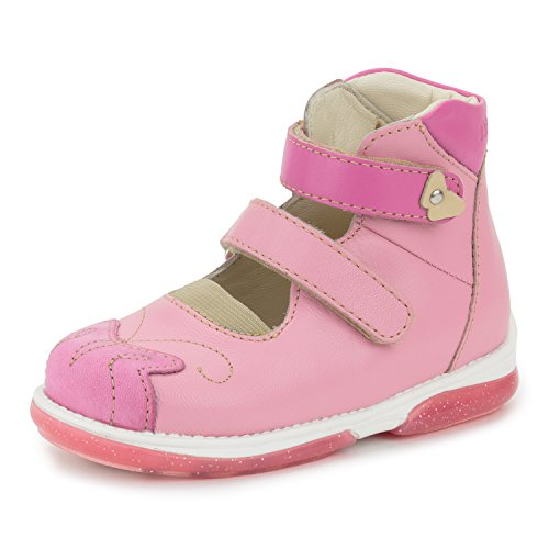 Memo Princessa Corrective Orthopedic Leather Mary Jane Shoes, Pink/Coral, 23 M EU / 7 M US Toddler