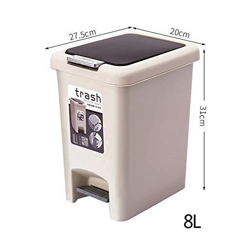 JHTC Rubbish Bins 8L, Plastic Pedal Touch Waste Bin (PP) for Kitchen, Bedroom, Living Room Office 31 x 27.5 x 20 CM