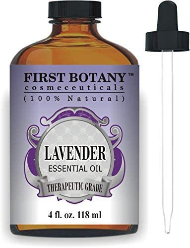 First Botany Cosmeceuticals Lavender Oil with a Glass Dropper, 4 oz (100% Pure)