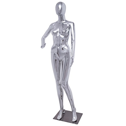 Giantex Female Mannequin Stand Dress Form Full Body Durable Plastic Display w/Base Abstract Egg Head Glossy by Giantex