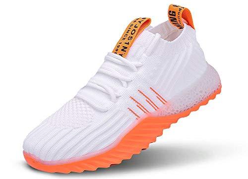 JIYE Mens Womens Colorful Fashion Sneakers Sports Shoes Breathable Casual Walking Shoes,White Orange,42EU=8.5 M US Men
