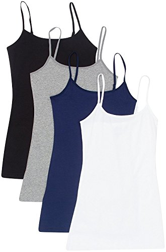 4 Pack: Active Basic Cami Tanks (1X, White/Black/Charcoal/Navy) ()