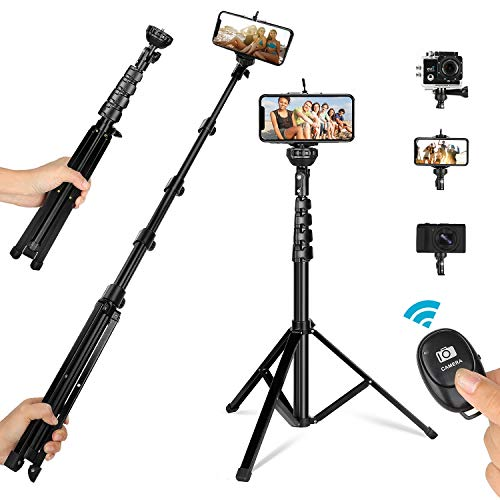 62″ Phone Tripod, All-in-One Extendable Selfie Stick Tripod with Wireless Remote, Camera & Cell Phone Tripod Stand Compatible with iPhone Android Samsung Phones DSLR Action Camera