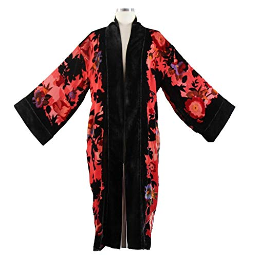 Aris A. Women's Silk Burnout Velvet Floral Print Kimono Jacket -
