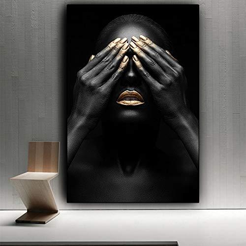 QAZEDC Pintura Decorativa Mano Negra y Labio Dorado Mujer Pintura al oleo sobre Lienzo Pinturas Carteles e Impresiones Cuadro de Arte de Pared para Sala de Estar 60x80cm
