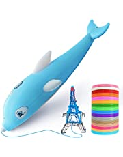 3D Pen, 3D Printing Drawing Pinter Pen with 16 Color Kid-Safe PCL Filaments, LCD Display, USB Charging, 3 Speed Adjustable, Cute Dolphin, for Kids & Adults, Safe and Easy Blue