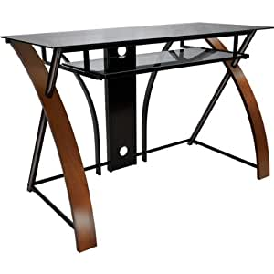 47 Computer Desk with Curved Wood