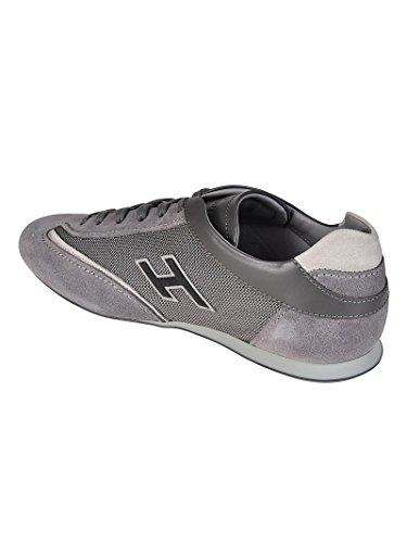 Hogan Sneaker Olympia in Pelle e Tessuto Grigio HXM05201684I9M
