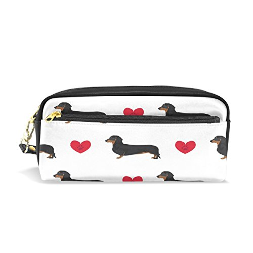 Dog Paws White Case - ALAZA Cute Dachshund Dog Love Heart White PU Leather Pen Pencil Case Pouch Case Makeup Cosmetic Travel School Bag