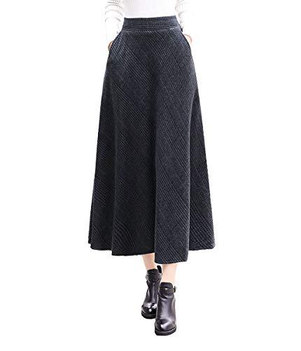 BiilyLi Femmes Vintage lgant Raye Haute Taille Hiver Jupe en Laine Automne Hiver Chaud A-Line Chaude Taille lastique Longue Jupe Raye 4
