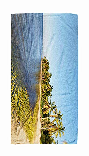 EMMTEEY Bath and Beach Towel,Panoramic Ocean Palm Tree Pool with Trees Evening Time Sunset in Republic Dominican Punta 30x60Inch Microfiber Oversized Large Quick Dry Swimming Pool Towel,Gold Black