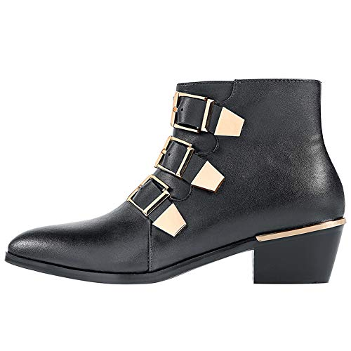 GEEDIAR Leather Ankle Boots Women Rivet Booties Studded Shoes Metal Buckle Shoes Low Heels Black from GEEDIAR