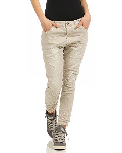 Con Hip Larghi Donna Cerniera hop Lavato L8081 Elasticizzati Chino Lexxury Usata Beige Boyfriend Pantaloni Jeans 0XpAqH