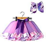 BGFKS Layered Ballet Tulle Rainbow Tutu Skirt for Little Girls Dress Up with Colorful Hair Bows (Purple Rainbow, L,4-8 Age)