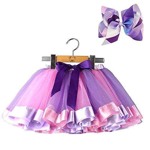BGFKS Layered Ballet Tulle Rainbow Tutu Skirt for Little Girls Dress Up with Colorful Hair Bows (Purple Rainbow, M,2-4 Age) ()