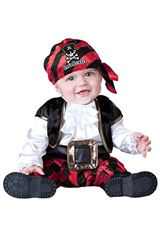 [InCharacter Costumes Baby's Cap'N Stinker Pirate Costume, Black/White/Red, Medium] (Toddler Boys Pirate Costumes)