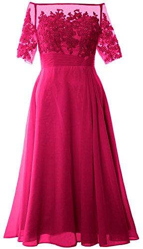 MACloth Women Off Shoulder Mother of Bride Dress Tea Length Formal Evening Gown Fuchsia