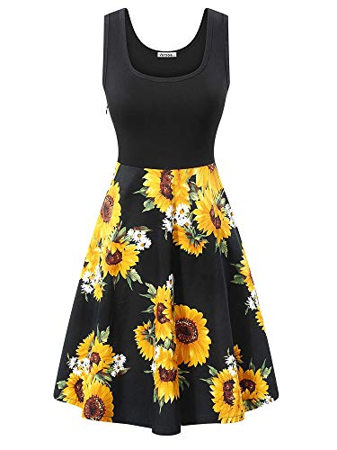 - VETIOR Midi Skater Dress, Women's Scoop Neck Sleeveless Floral Summer A-Line Dress
