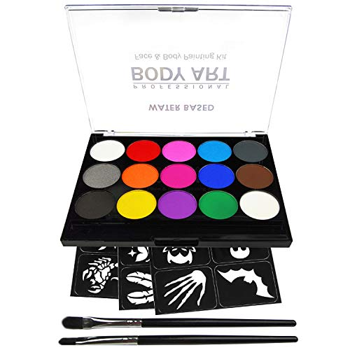 Wolf Face Paint For Halloween (Face Paint Kit for Kids, Professional Quality Face & Body Paint, Hypoallergenic Safe & Non-Toxic, Easy to Painting and Washing, Ideal for Halloween Party Face Painting, 15 Colors with Two)