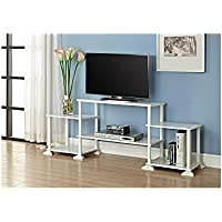 White TV Stand for TVs up to 40 Entertainment Center 3 Cube Storage w/ Wire Clips