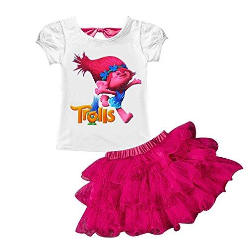 AOVCLKID Trolls Little Girls' 2Pcs Suit Cartoon Shirt and Skirt Set (90/1-2Y, Rose)