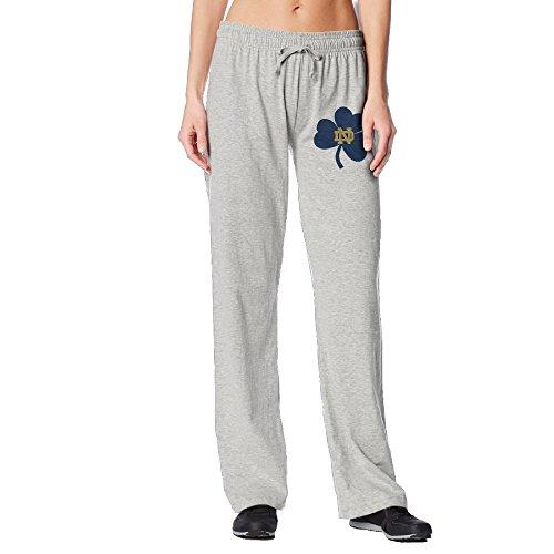 [BakeOnion Women's Notre Dame Clover Performance Workout Pants L Ash] (Scott Hall Costume)