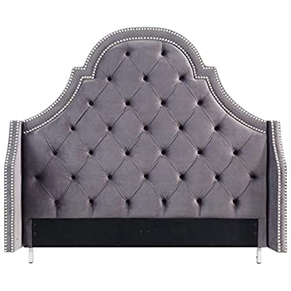 the best attitude 23132 0a286 Amazon.com - Posh Living Aaron Grey Velvet Tufted Headboard ...