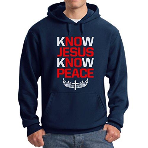 TeeStars Men's - Know Jesus Know Peace Hoodie X-Large Navy
