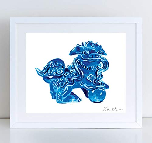 Blue Foo Dog Left Giclee Art Print Watercolor Painting Wall Home Decor Blue and White Chinese Fu Lion Chinoiserie Hollywood Regency Asian Antique Southern Style Pretty Preppy ()
