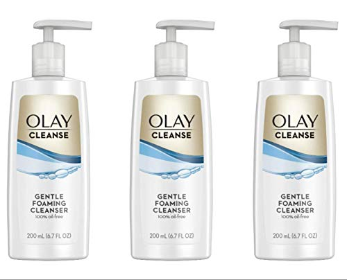 Olay Cleanse Gentle Foaming Face Cleanser for Sensitive Skin, Fragrance Free 6.7 fl oz (Pack of 3) (Best Cleansing Oil For Sensitive Skin)