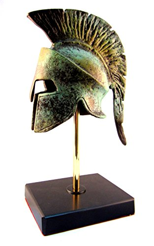 Ancient Greek Bronze Museum Replica of Spartan Helmet on a Base (Bronze Greek Helmet)