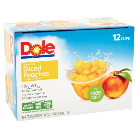 Dole Yellow Cling Diced Peaches, 4 Ounce (12 Count)