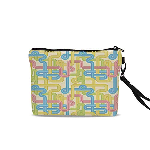 90s Cosmetic Bag Storage Bag,Old Design Hippie Labyrinth Style Geometric Pattern Illustration in Pastel Colors For Women Girl,9
