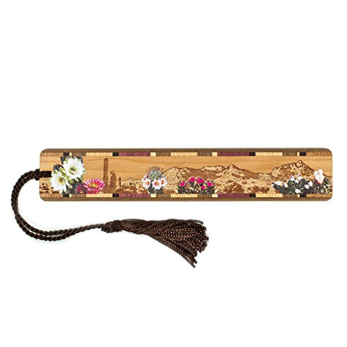 Desert Flowers- Desert Scene Engraved Color Wooden Bookmark with Tassel Search B079M2F8SN for Personalized Version