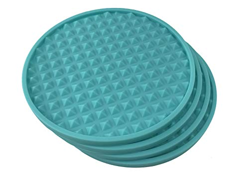 4 Teal Coasters - Pyramid Silicone Rubber Catches Drink Condensation and Spills - Safe Non-Slip for Dinner Table, Furniture, or Bar