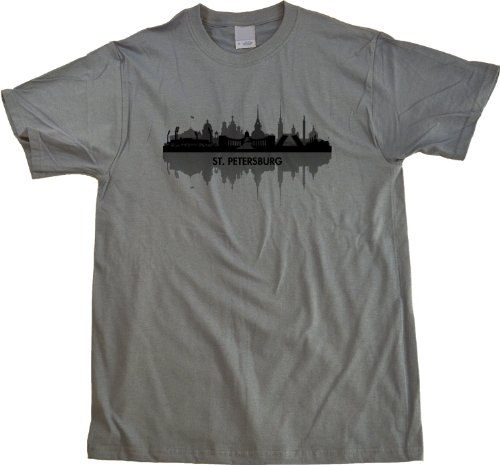 St. Petersburg, Russia City Skyline Unisex T-shirt Grey Russian Civic Pride Tee