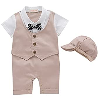 NYAN CAT Baby Boy Romper 1Pcs Toddler Gentleman Formal Outfit Set with Suit Vest Bowtie and Hat Beige 6-9 Months