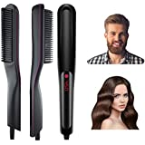 Anviky Beard Straightener Comb for Men,Ionic Beard Straightener Comb with Anti-Scald Feature,Fast Heat Beard straightener Brush Portable for Home and Travel