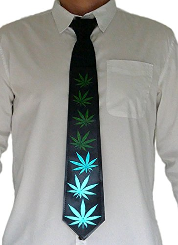 Leaves Bow (Light Up Tie – Pot Leafs Light Up With Sound – Novelty Necktie for Parties, Festivals, Clubs)