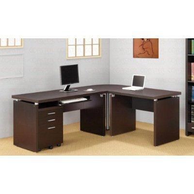 amazon com l shaped computer desk in cappuccino finish kitchen rh amazon com l shaped computer desks for sale l shaped computer desks with hutch