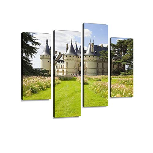 Chaumont Chateau Panoramic Canvas Wall Art Hanging Paintings Modern Artwork Abstract Picture Prints Home Decoration Gift Unique Designed Framed 4 Panel