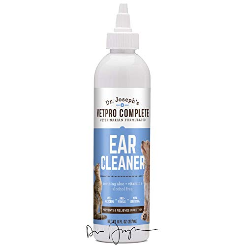 Ear Cleaner for Dogs & Cats with Soothing Aloe and Vitamin E, Vet Strength and Formulated, Gently Removes Wax & Debris, Reduces Odor, Helps Prevent Mites & Infections, Anti-Microbial, Anti-Fungal, 8oz